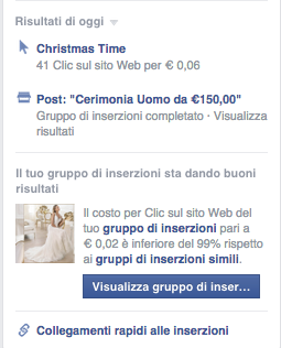 Esempio campagna advertising on Facebook